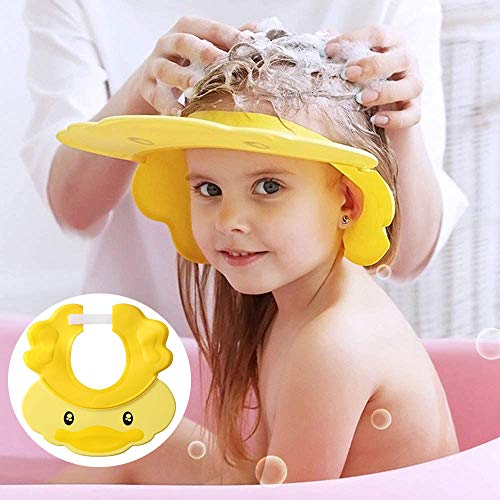 Shower Kid Shampoo Cap Bath Soft Cap Visor Hat for Kids Eye and Ear Protection Adjustable Soft Silicone Water Guard Hats for Babies, Toddler, Children Infant Over 6 Month Cute Yellow Duck
