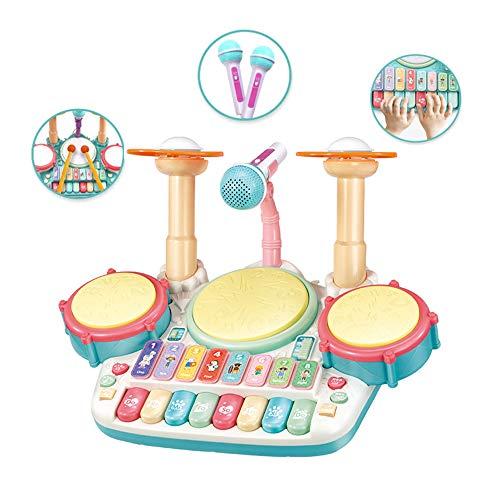 ZXIAQI 3 in 1 Kinder Trommel Spielzeug Musikinstrumente für Kleinkinder Mit Kinderreimen Elektronisches Schlagzeug Geschenkidee für Kinder Jungen Mädchen ab 3 Jahren,Ivory White