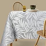 Viste tu hogar Mantel Jacquard Resinado, 140x300 CM, Impermeable y Resistente, para Decoración de Mesa, Ideal en Fechas Especiales, Patrón de Plantas, Gris