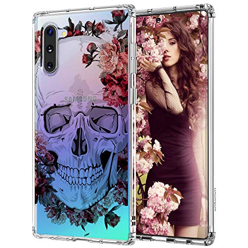 MOSNOVO Galaxy Note 10 Case, Cool Floral Skull Flower Pattern Clear Design Printed Transparent Plastic Back Phone Case with TPU Bumper Protective Case Cover for Samsung Galaxy Note 10