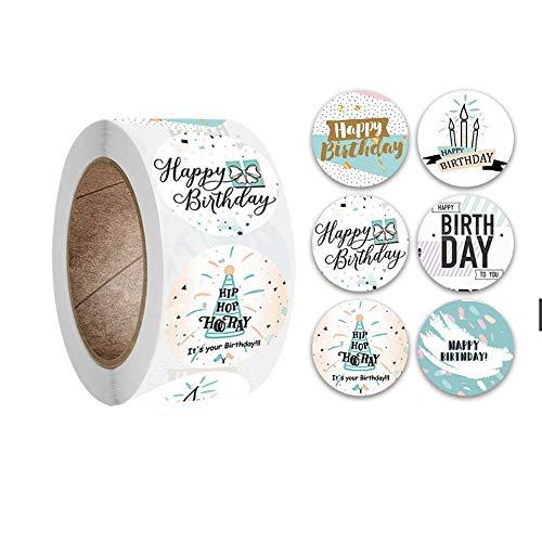 Happy Birthday Sticker, selbstklebende Geburtstagsgeschenk-Versiegelungsaufkleber 1.5 Zoll, 500 Aufkleber pro Rolle mit 6 Farben