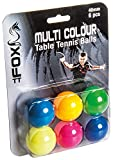 Fox TT 6pk Coloured Table Tennis Balls (Pack of 6) Mixte, Multicolore