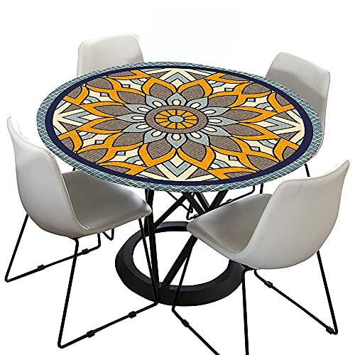 Morbuy Tischdecke Elastisch, Mandala Drucken Rund Tischdecken Wasserdicht Lotuseffekt Abwaschbar Abwischbar Tischtuch für Dekoration Küchentisch Garten Outdoor (Gelb Blau,90cm)