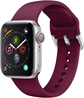 Ontube Strap Compatible with Apple Watch,Soft Silicone Sport Bands Replacement Wristband for Apple Watch Series SE/6/5/4/3...