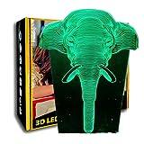 KangYD Tier Elefant 3D Nachtlichter, LED Illusion Schlaflampe, Valentinstag Geschenk, Warme Lampe, Geburtstagsgeschenk, Freund Geschenk, F - Bluetooth Audio Base (5 Farben)