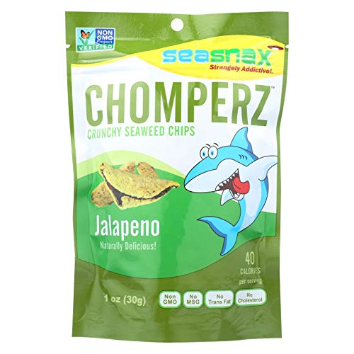 Seasnax Chomperz Crunchy Seaweed Chips - Jalapeno - Case of 8 - 1 oz.
