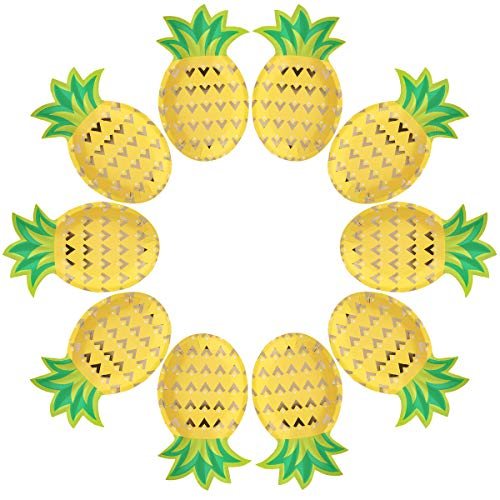 Cieovo 24 Count Disposable Plates Bronzing Pineapple Party Paper Plates Dinner Dessert for Summer Fruit Pineapple Theme Baby Shower Birthday Wedding Barbecue Wine Party Supplies