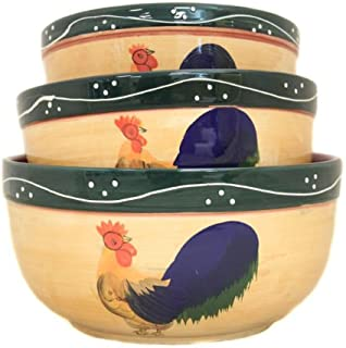 Classic Rooster Collection Deluxe Hand-Painted Serving Bowls (Set of 3)