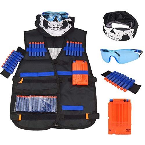 Tactical Vest Kit Kids for Nerf Guns N-Strike Elite Series with 1Pcs 8-Dart Wrist Band 20 Pcs Soft Foam Darts Bullets Seamless Face Mask & Goggle 1Pcs Quick Reload Clip