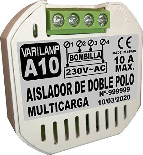 A10. Aislador de doble polo que evita por completo encendidos residuales en LED o cualquier lámpara. 230VAC. 2000W Máx.