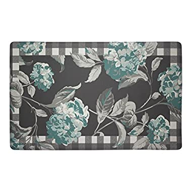 Laura Ashley Anti-Fatigue Comfort 20  x 32  Kitchen Mat, Hydrangea with Check Border, Teal/Grey
