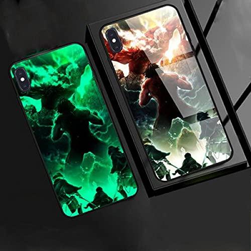Carcasa de Telefono,Estuche para iPhone con Cordón Funda para Teléfono con Brillo Nocturno Anime 3D Serie Attack On Titan Carcasa de Vidrio Templado Moda Genial Compatible con Iphone12 Mini