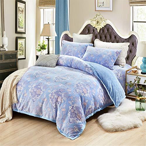 KLLT Tweepersoonsdekbedovertrek, flanel, tweepersoonsbed, met overtrek, voor kinderen, studenten, beddengoed, slaapkamer, effen