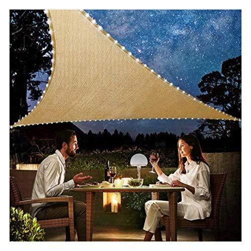 ZXSZX Patio Shack Toldo Vela Triangular con luz LED, Vela Sombra, Transpirable, Resistente y Protección Rayos UV para Exterior, Jardín, Terrazas, 5X5x5m,Beige
