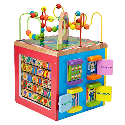 Must-have toy for seven month old baby, Alex Discover My Busy Town Wooden Activity Cube Kids Art and Craft Activity