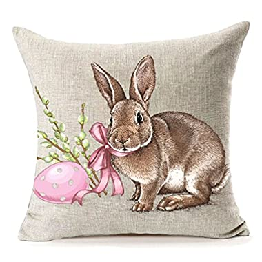 MFGNEH Easter Rabbit with Egg Home Decor Pillow Covers, Easter Bunny Engrave Illustration Vintage Graphic Cotton Linen Throw Pillow Case Cushion Covers 18x18