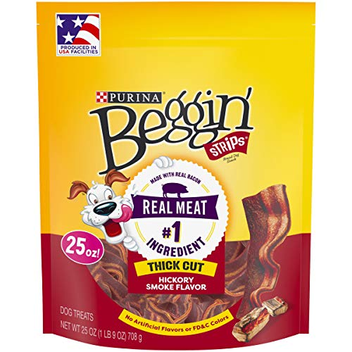 Purina Beggin' Made in USA Facilities Dog Treats, Strips Thick Cut Hickory Smoke Flavor - 25 oz. Pouch