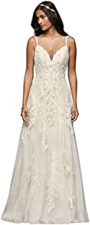 David's Bridal Scalloped A-Line Wedding Dress with Double Straps Style MS251177