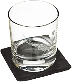 The Just Slate Company JS/GTS/PH Pheasant Engraved Glass Tumbler with Slate Coaster Gift Set