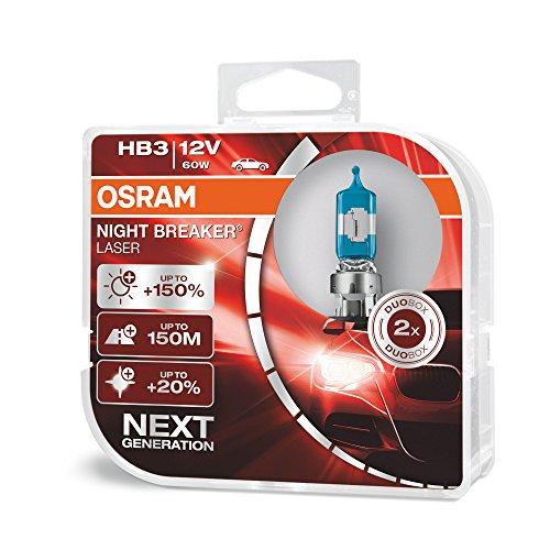 OSRAM NIGHT BREAKER LASER HB3, Gen 2, +150% más luz, bombillas HB3 para faros delanteros, 9005NL-HCB, 12V, duo box (2 lámparas)