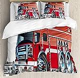 XINGAKA Juego de Funda nórdica Cars,camión de Bomberos Grande con Equipos de Emergencia Equipo de Rescate de Seguridad Universal Motor Cartoon,Juego de Cama de 3 Piezas con Rojo Plata