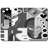 Starodec Alfombrilla De Baño Antideslizante Imagen de Detalle de círculo de corazón y círculo de Guitarra de Piano con música de Mujer Alfombra,Lavable a máquina