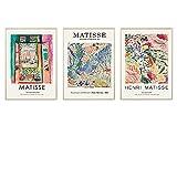 VUSMH Poster de Arte de Henri Matisse Impresiones Paisaje Abstracto Flores Arte de la Pared Cuadro de Lienzo Vintage Cuadro para Salon de Estar Decoracion del hogar 40x60cmx3 Sin Marco