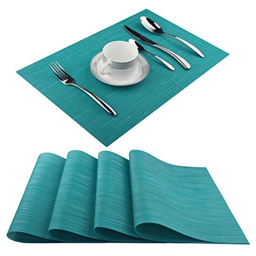 Vinyl Placemats,Washable Table Mats Easy to Clean Woven Placemats for Dining Table Set of 4(Cyan Blue)