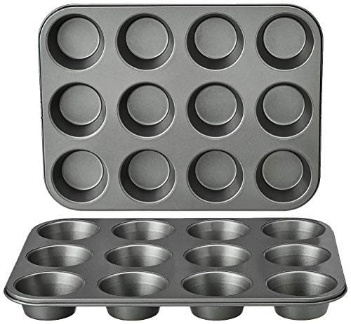 Amazon Basics Nonstick Carbon Steel Muffin Pan, Set of 2, 12 Cups Each