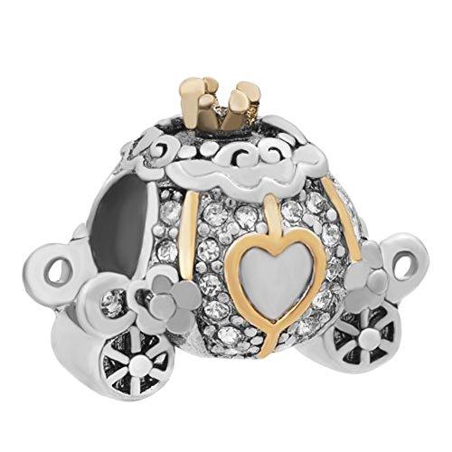 Uniqueen Abalorio de cristal con forma de carruaje de Cenicienta para pulsera europea