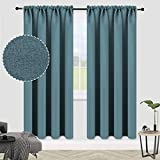 ALLJOY Solid Thick 100% Blackout Curtains Panels for Living Room, 2 Panels Thermal Insulated Room Darkening Curtains Blackout Rod Pocket Wide Window Drapes Panels for Bedroom, W52 x L72 Inch, Teal