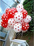Sopeace 50 pcs 12inch 2.8g Black red White Polka Dot Balloon Colors Inflatable Latex Balloons for Wedding Birthday Party Decoration (25 Red and 25 White)