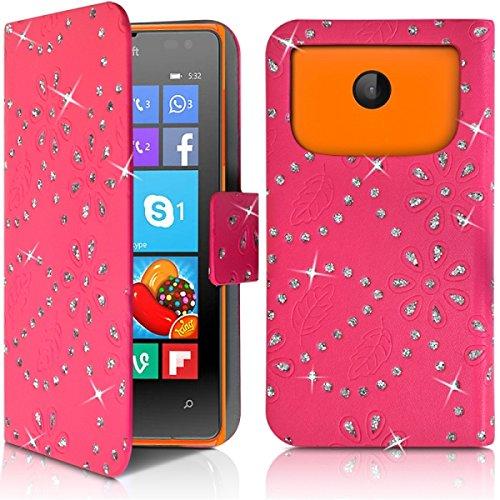 Seluxion–Cover a portafoglio, motivo: diamante universale S Colore Rosa Fucsia per Nokia Lumia 532