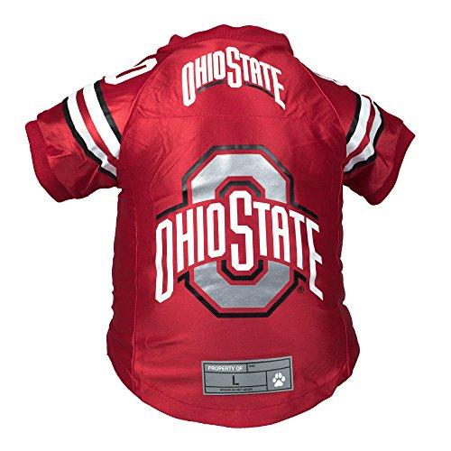 Littlearth NCAA Ohio State Buckeyes Premium Pet Jersey, Large, Light Red