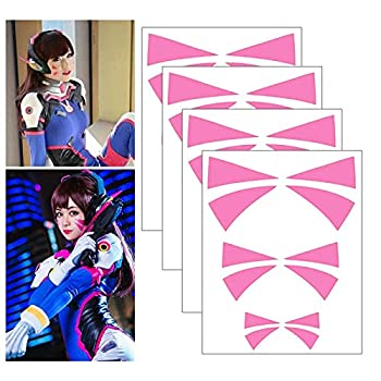 Cosplay Face Temporary Tattoos 4 Sheets Overwatch DVa Face Tattoo Stickers 3 Sizes  Pink