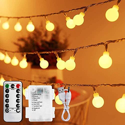 Lichterkette Batterie 10M, Infankey 100LED Usb Lichterkette mit Batterie mit Fernbedienung, 8 Modi& Timing-Funktion, IP44 Wasserdicht, Lichterkette Kugel Perfekt für Garten, Partys