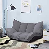 JERRY & MAGGIE - Lazy Sofa Futons Sets Adjustable Sofa TV Floor Couch Folding Sofa Bed Entertainment | Dark Grey