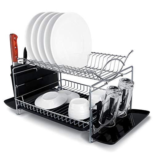 MNOPQ Dish Drying Rack, 2 Tier Rust Proof Large Capacity Dish Drainer Rack with Drainboard