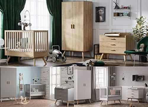 Babyzimmer Kinderzimmer Komplett Set Nicole Bett Schrank Kommode weiß, grau oder eiche (Eiche)