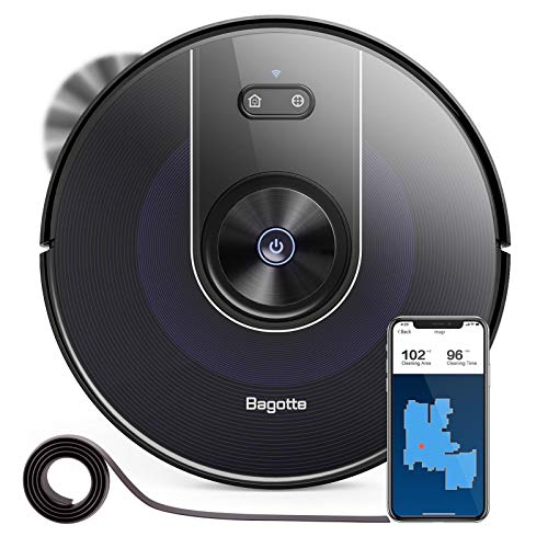 Bagotte Robot Vacuum and Mop, Smart Navigation Robotic Vacuum Cleaner with 2200Pa Suction, Wi-Fi Connected, Works with Alexa/APP, Quiet, Self-Charging Vacuum for Pet Hair, Carpets and Hard Floors