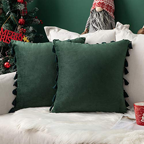 MIULEE Christmas Velvet Tasseled Cushion Covers Bohemian Indian Embroidered Decorative Square Throw Pillowcases Couch Livingroom Sofa Bed Invisible Zipper 18x18 inch 45x45cm 2Pieces Dark Green