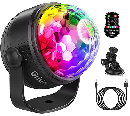 Luci Discoteca LED, Gritin USB Alimentata Palla da Discoteca con 15 RGBP Colori , 360 ° Ruotabile/Musica Attivata/Telecomando/4M USB Cavo, per Natale, Bar, Club, Festa, Xmas, Regali per Bambini