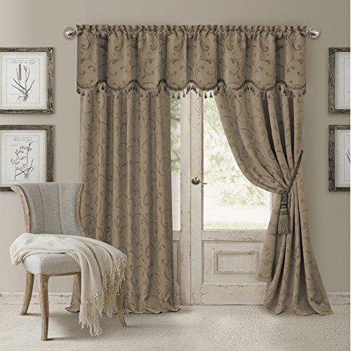 "Elrene Home Fashions 26865901498 Blackout Energy Efficient Room Darkening Rod Pocket Window Curtain Drape Regal Jacquard Woven Panel, 52"" x 95"", Taupe, 1"