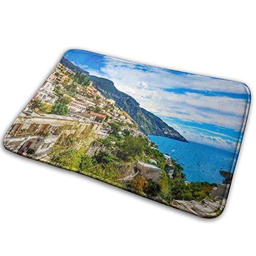 Amalfi Coast Seamless Pattern Doormat,Non-slip and Washable - Indoor,Inside Foot Mats - Doormats for Indoors -60 x 40 cm Bath