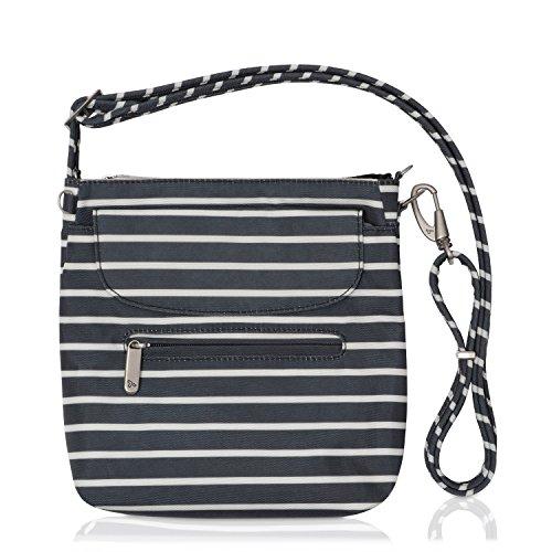 Travelon Anti-Theft Classic Mini Shoulder Bag (Black w/White Stripe - Exclusive Color)