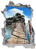 Steg Brücke Insel Wandtattoo Wandsticker Wandaufkleber E0663 Größe 46 cm x 62 cm