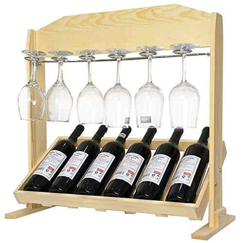 ZXMDP Houten wijnrek, vitrine van natuurlijk hout, zelfdragend, tafel voor 6 wijnflessen, 6 wijnglashouders