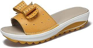 Women Bowknot Slide Platform Sandals Anti-Slip Thick Bottom Summer Beach Flat Wedge Sandals