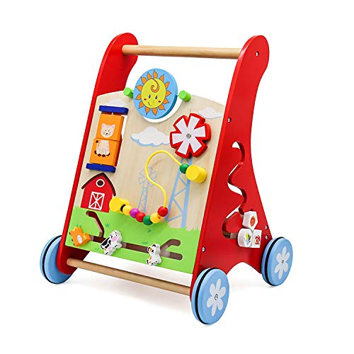 Cuddlez roter Lauflernwagen aus Holz – natürliche Lauflernhilfe mit gummierten Rädern für Babys und Kinder, spielend Laufen Lernen, mit vielen Motorik-Spielmöglichkeiten, ab 12 Monate