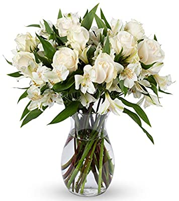 Benchmark Bouquets Elegance Roses and Alstroemeria, With Vase (Fresh Cut Flowers) from Benchmark Bouquets